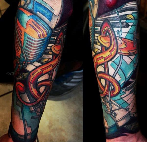 Colorful Musical Tattoo On Arms For Men