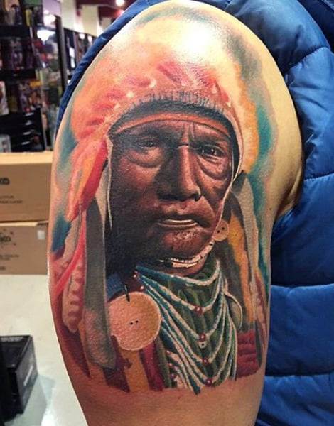 Colorful Native American Tattoo With Accessories Mens Arms