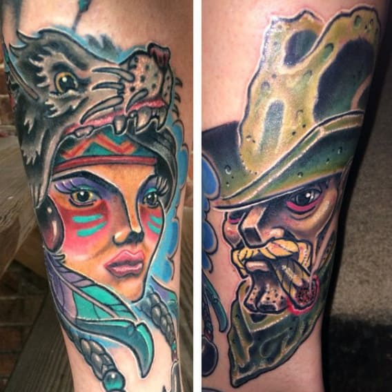 Colorful Neo American Tattoos For Men With Indian Woman Smoking Man