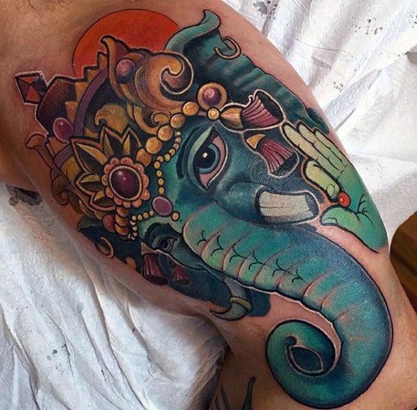 Colorful New School Male Ganesh Tattoo On Inner Arm Biceps