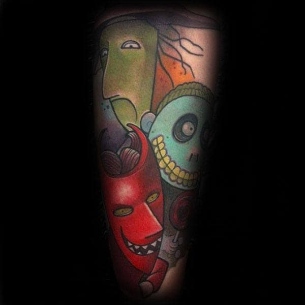 Colorful Night Before Christmas Lock Shock And Barrel Mens Arm Tattoo Ideas