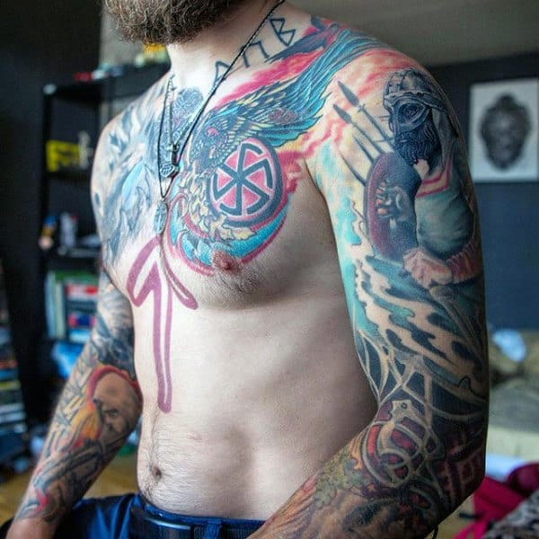Colorful Nordic Viking Rune Mens Sleeve And Chest Tattoos