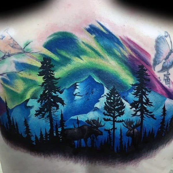 Colorful Northern Lights Mens Woods Moose Upper Back Tattoo
