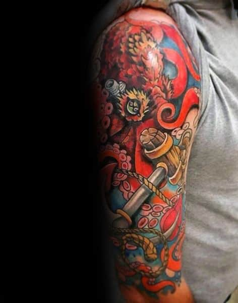 Colorful Octopus Male Tattoo Cover Up Sleeve Designs