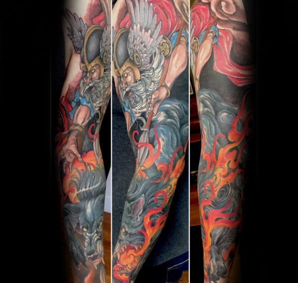 Colorful Odin Sleeve Tattoo Ideas For Guys