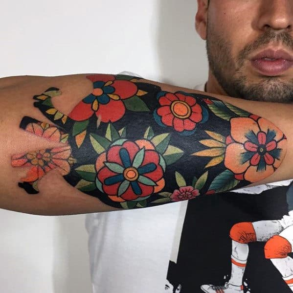 c46a18b332089 Colorful Outer Forearm Traditional Flower Tattoo Designs For Men