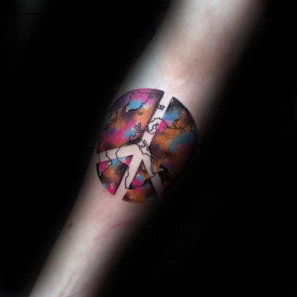 Colorful Outerspace Peace Sign Watercolor Tattoo On Male