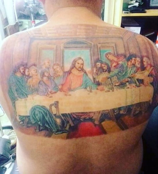 Colorful Painting Last Supper Tattoo On Man