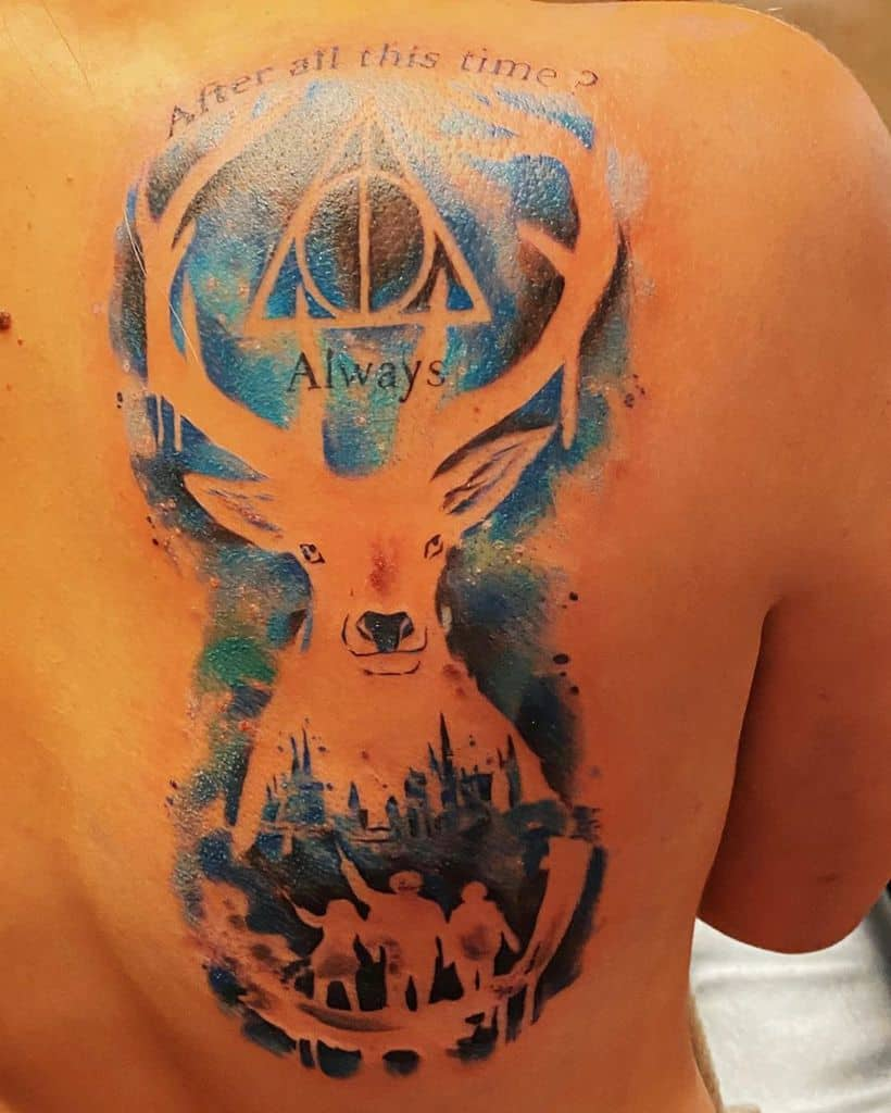 colorful patronus harry potter deathly hallows tattoo