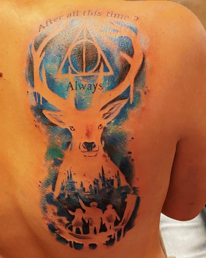 colorful patronus harry potter deathly hallows tattoo