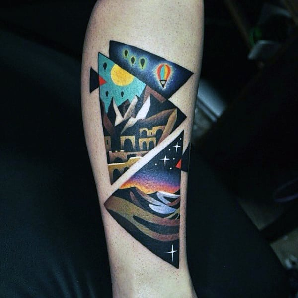 Colorful Patterned Triangle Tattoo On Calves For Guys