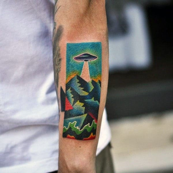 Colorful Patterns Ufo Tattoo Mens Forearms
