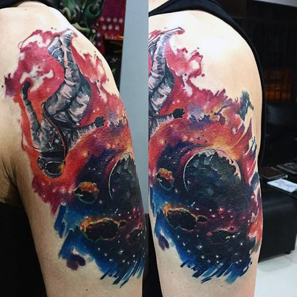 Colorful Portrayal Of Space And Astronaut Tattoo Guys Arms