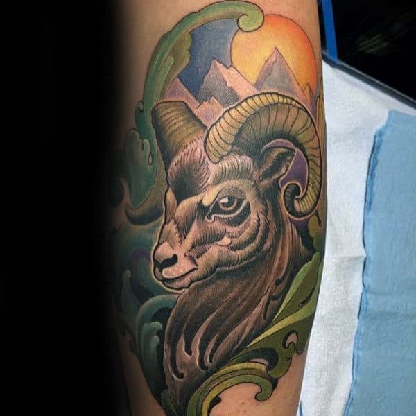Colorful Ram Ornate Mens Arm Tattoos