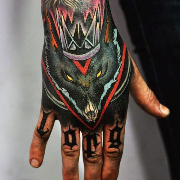 Colorful Rat With Crown Mens Hand Tattoos