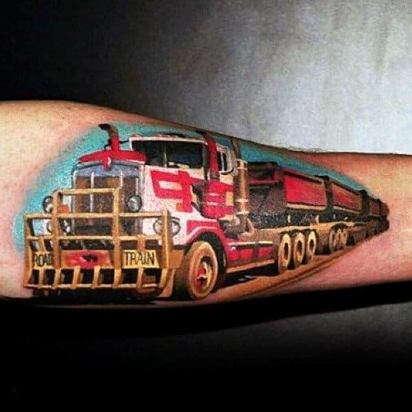 Colorful Realistic Mens Semi Truck Inenr Forearm Tattoos