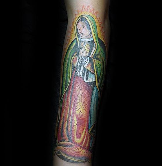 Colorful Religious Forearm Guadalupe Male Tattoo Ideas