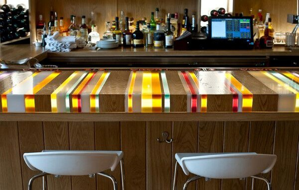 Colorful Resin Basement Bar Top Ideas