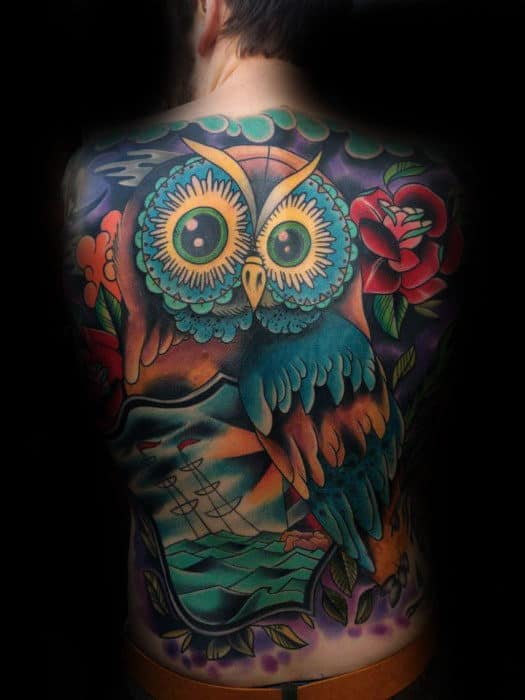 Colorful Retro Owl Sailing Ship Back Tattoos For Guys