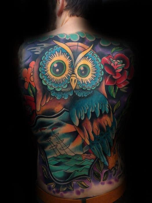 Colorful Retro Owl Sailing Ship Back Tattoos For Guys