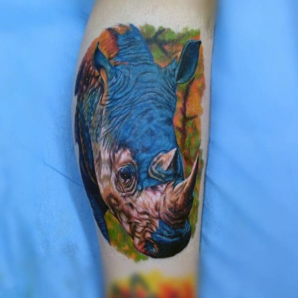 Colorful Rhino Male Leg Calf Tattoo