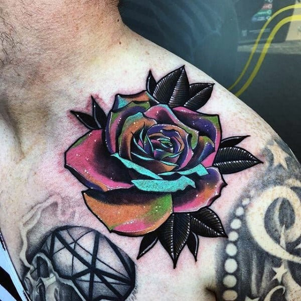 Colorful Rose Flower Mens Shouler Tattoo Ideas