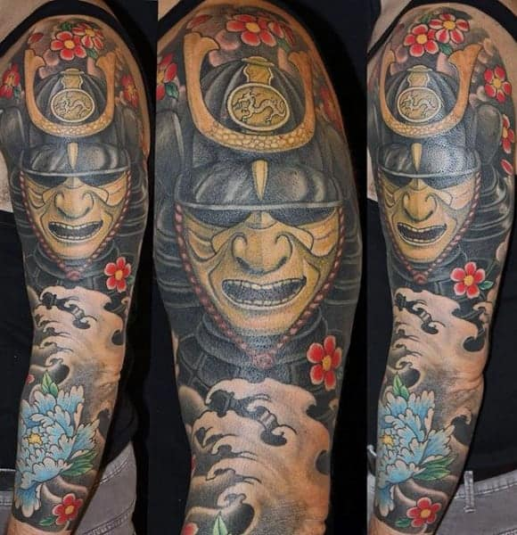 colorful-samurai-mask-and-wave-half-sleeve-tattoo-for-men