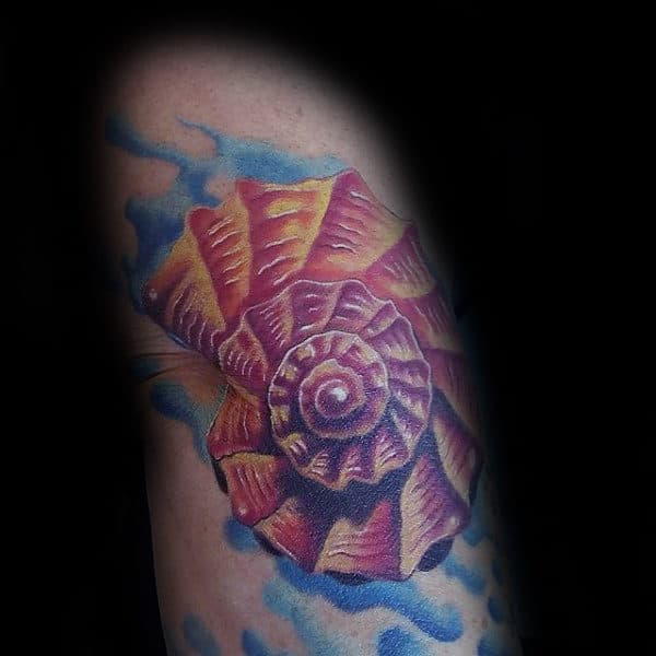 Colorful Seashell Watercolor Male Arm Tattoos