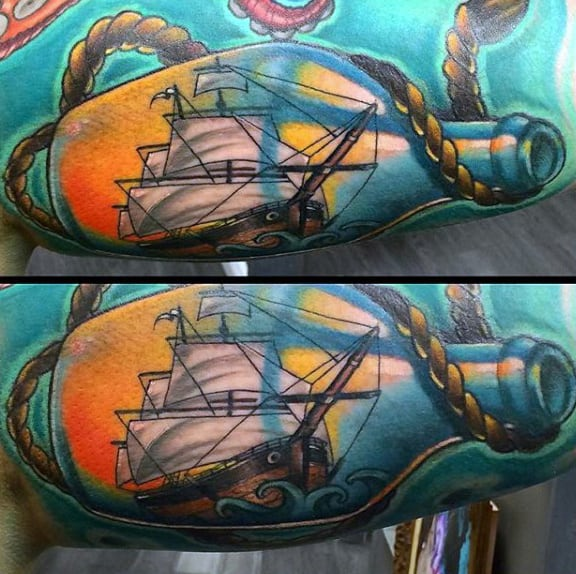 Colorful Ship In A Bottle With Rope Mens Arm Tattoos
