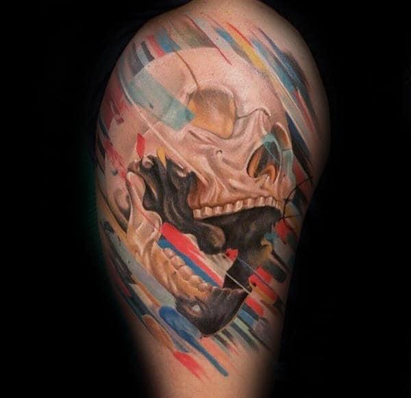 Colorful Skull Unique Guys Upper Arm Tattoos