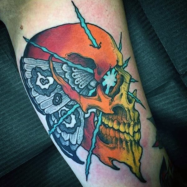 Colorful Skull With Moth Mens Arm Tattoo Ideas