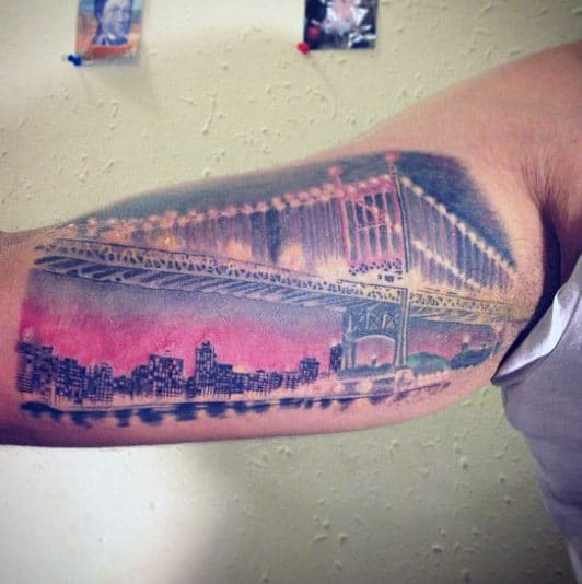 Colorful Sky Brooklyn Bridge Male Bicep Tattoos