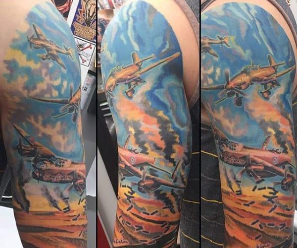 Colorful Sky Ww2 Mens Plane Sleeve Tattoo