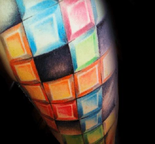 Colorful Sleeve Mens Cool Tetris Tattoo Ideas
