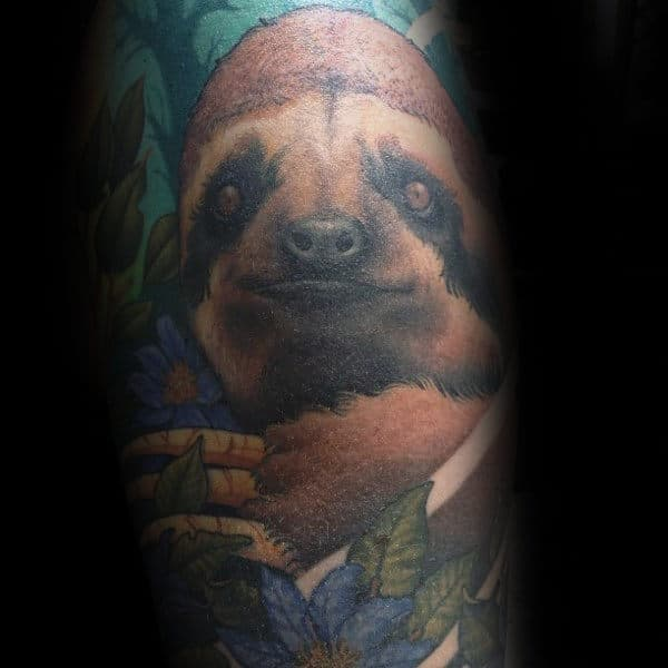 Colorful Sloth Mens Sleeve Tattoo Ideas
