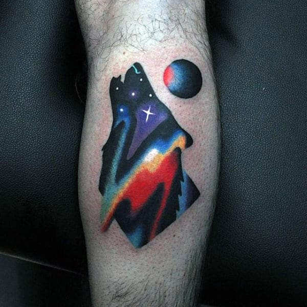 Colorful Small Unique Howling Wolf Mens Modern Tattoo