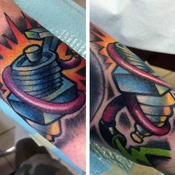 Colorful Spark Plug Tattoo For Males On Forearm
