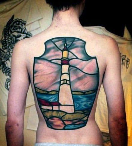 Colorful Stained Glass Lighthouse Mens Back Tattoo Ideas