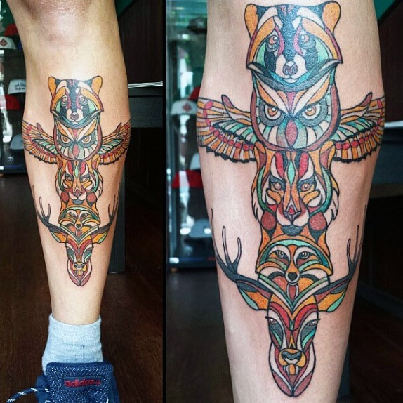 Colorful Stylist Neo Traditional Totem Pole Tattoo On Calf On Gentleman