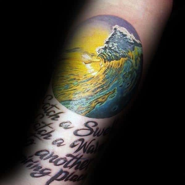Colorful Sun With Ocean Wave Mens Forearm Small Tattoo Ideas