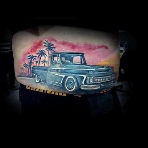 Colorful Sunset With Palm Trees Mens Vintage Truck Lower Back Tattoos