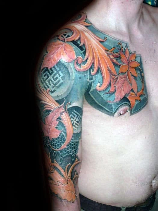 Colorful Sweet Guys Battle Armour Half Sleeve And Chest Tattoo Designs