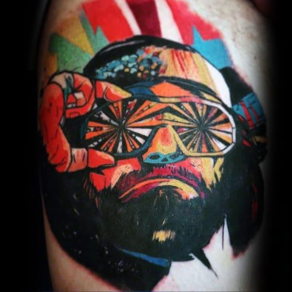 Colorful Thigh Unique Mens Wrestling Tattoos