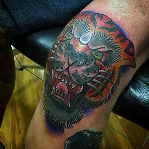 Colorful Tiger Knee Mens Tattoo Ideas