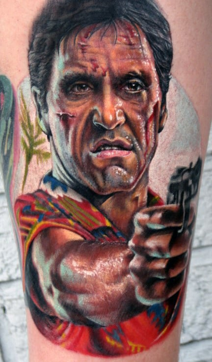 Colorful Tony Montana Mens Scarface Leg Tattoo Designs