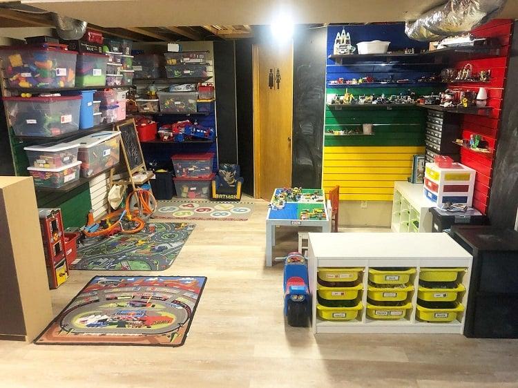 Colorful Toy Bin Basement Storage