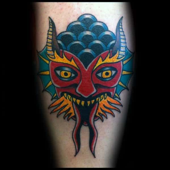 Colorful Traditional Devil Guys Leg Tattoo Inspiration