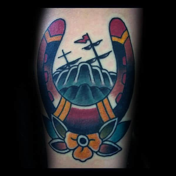 colorful-traditional-horseshoe-male-arm-tattoo-ideas