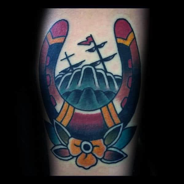 Colorful Traditional Horseshoe Male Arm Tattoo Ideas
