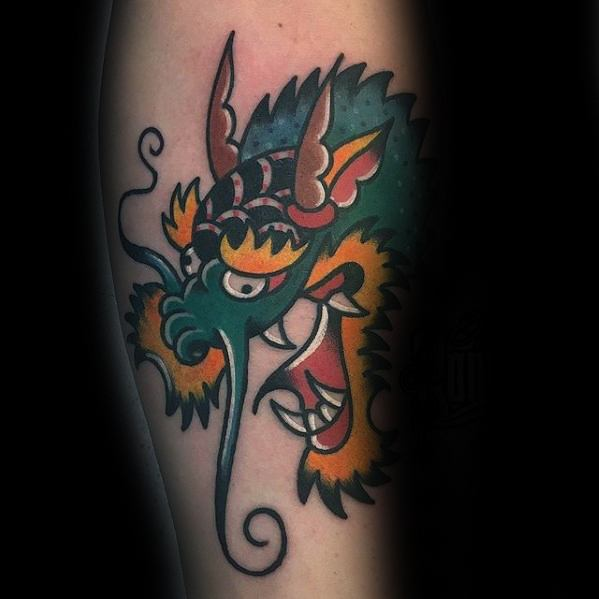 Colorful Tradtional Forearm Mens Simple Dragon Tattoo Ideas